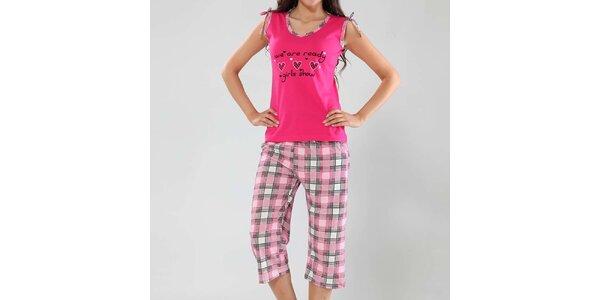 Dámske pyžamo Fagon - fuchsiové tielko a kockované nohavice