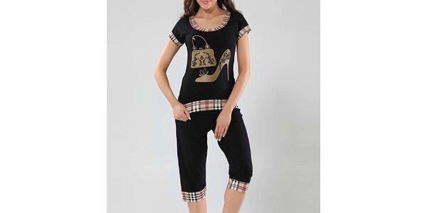 Dámske čierne pyžamo s kockovanými lemami Fagon