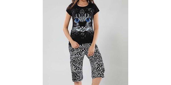 Dámske pyžamo Fagon - tričko s mačičkou a vzorované nohavice