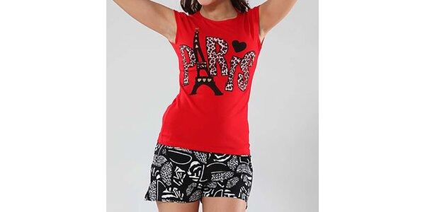 Dámske čierno-červené pyžamo s potlačou Fagon