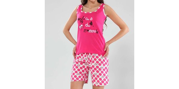 Dámske fuchsiové pyžamo s bodkami Fagon