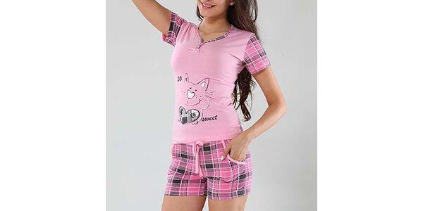 Dámske ružové pyžamo s mačičkou Fagon
