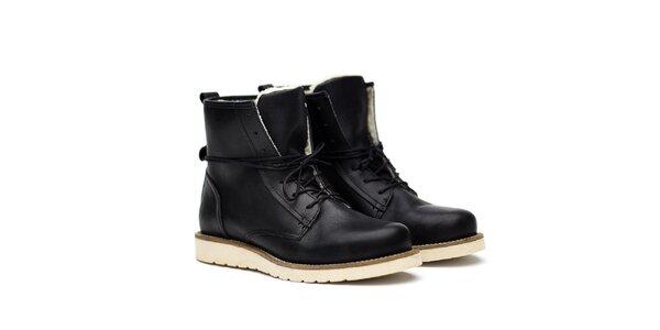 Pánske čierne kožené topánky na šnúrovanie Shoe the Bear