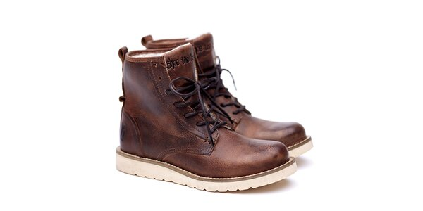 Pánske hnedé kožené topánky na šnúrovanie Shoe the Bear