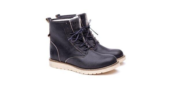 Pánske šedé kožené topánky na šnúrovanie Shoe the Bear