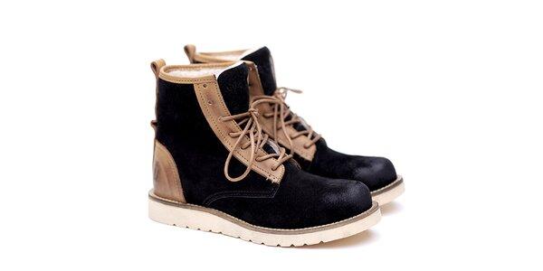 Pánske čierno-béžové semišové topánky Shoe the Bear