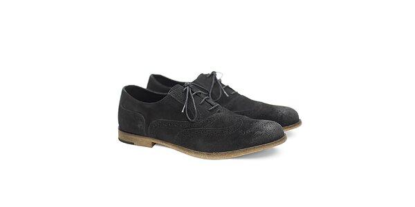 Pánske čierne semišové poltopánky so zdobením Shoe the Bear