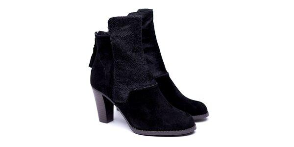 Dámske čierne členkové topánky na opätku Shoe the Bear