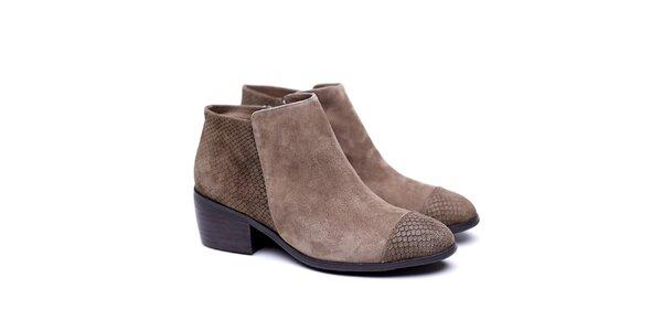 Dámske hnedé členkové topánky s hadím vzorom Shoe the Bear
