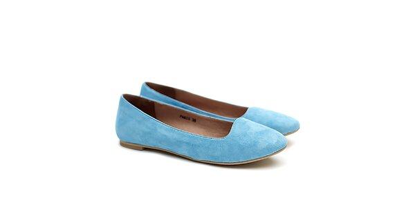 Dámske modré semišové balerínky Shoe the Bear