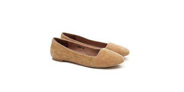 Dámske pieskové semišové balerínky Shoe the Bear