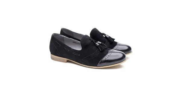 Dámske čierne poltopánky so strapcami Shoe the Bear