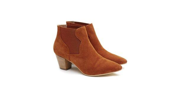 Dámske tehlovo červené členkové topánky na opätku Shoe the Bear