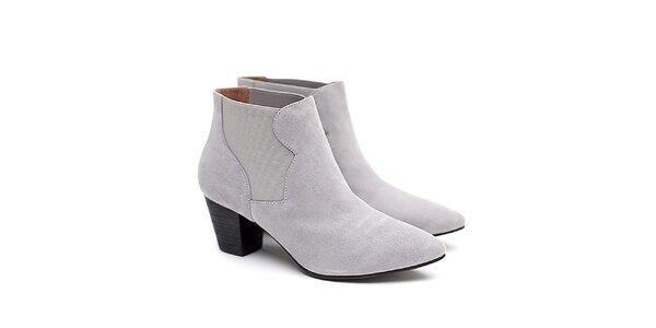 Dámske šedé členkové topánky na opätku Shoe the Bear
