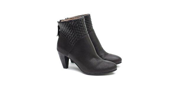 Dámske čierne kožené topánky na opätku s prepletaním Shoe the Bear