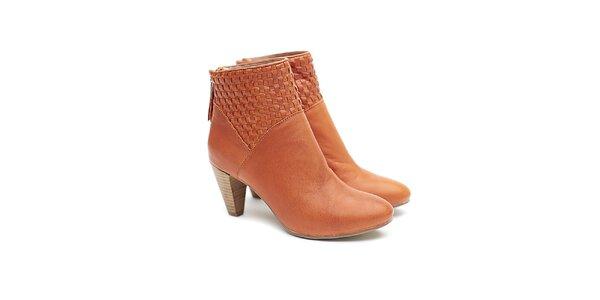 Dámske karamelové kožené topánky na opätku s prepletaním Shoe the Bear