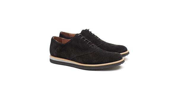 Pánske čierne poltopánky z kože Shoe the Bear