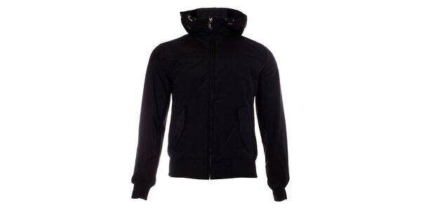Pánska čierna jarná bunda Refrigue s kapucňou