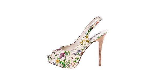 Dámske béžové lodičky s kvetinovou potlačou Roberto Botella