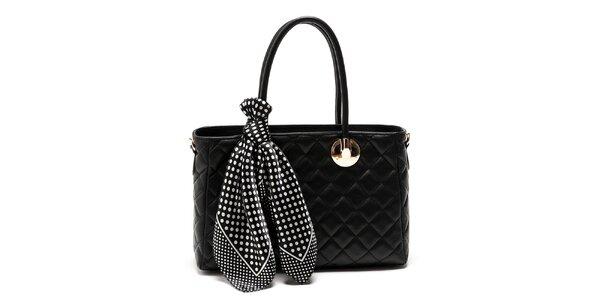 Dámska čierna kabelka so šatkou Carla Ferreri
