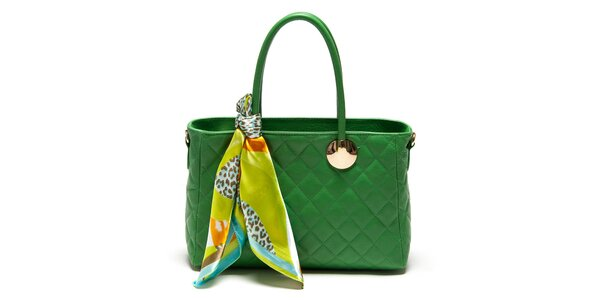 Dámska zelená kabelka so šatkou Carla Ferreri