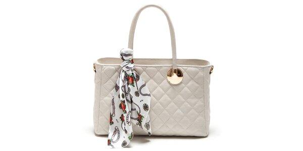 Dámska béžová kabelka so šatkou Carla Ferreri