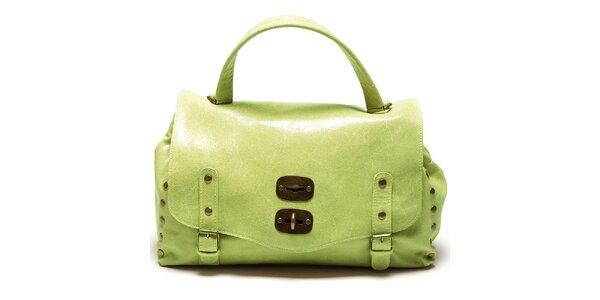 Dámska zelená kabelka s prackami a cvokmi Carla Ferreri