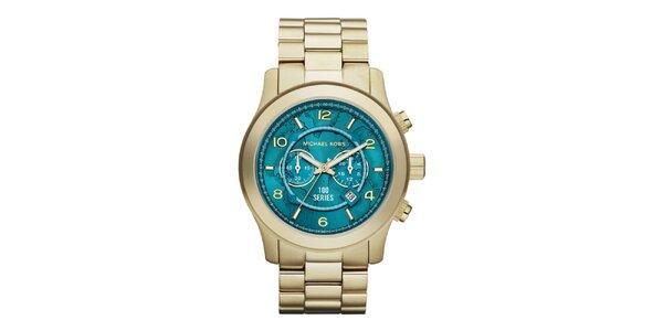 Dámske pozlátené hodinky s tyrkysovým ciferníkom Michael Kors