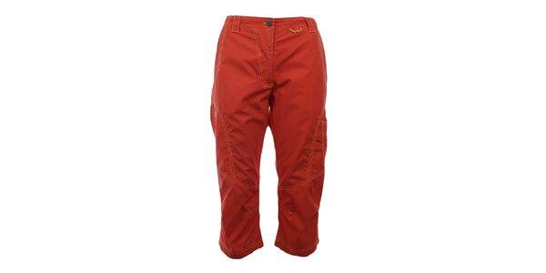 Dámske oranžovočervené capri nohavice s prešívaním Hannah