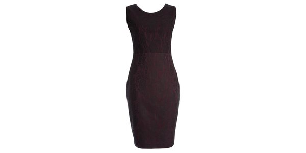Dámske vínové šaty s motívom čipky JDC London