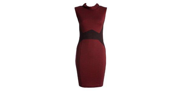 Dámske červené šaty s čiernymi vsadkami JDC London