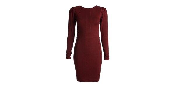 Dámske bordó šaty s dlhými rukávmi JDC London