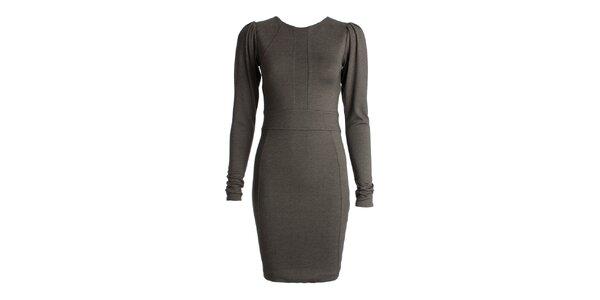 Dámske šedé šaty s dlhými rukávmi JDC London