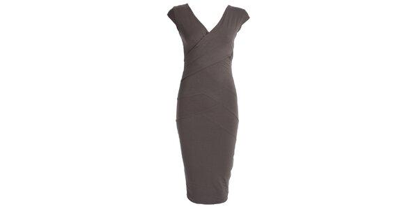 Dámske šedé šaty so zavinovacím efektom JDC London