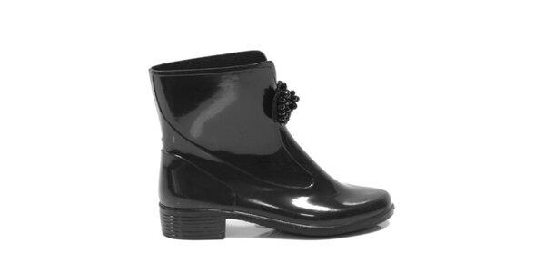 Dámske čierne členkové topánky s ozdobou Favolla
