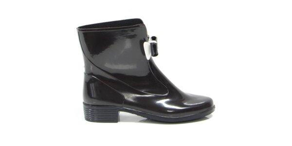 Dámske čierne členkové topánky s čierno-bielou mašličkou Favolla