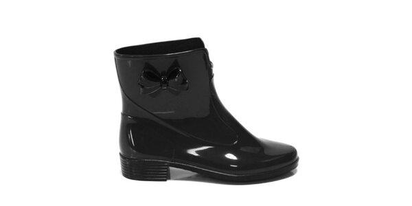 Dámske čierne kotníkové topánky s mašličkou Favolla