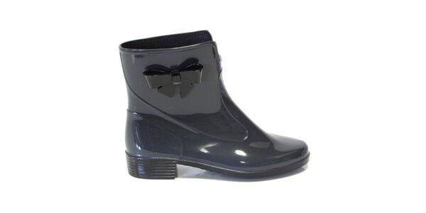 Dámske tmavo šedé kotníkové topánky s mašličkou Favolla