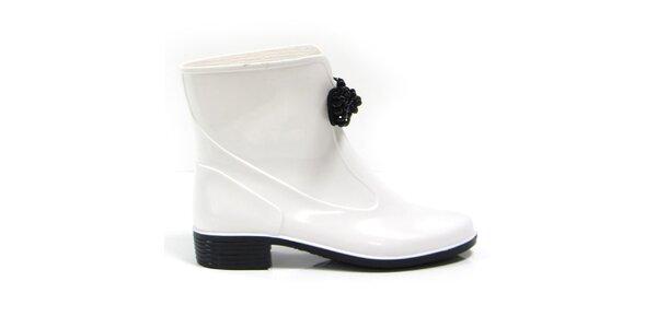 Dámske biele členkové topánky s ozdobou Favolla