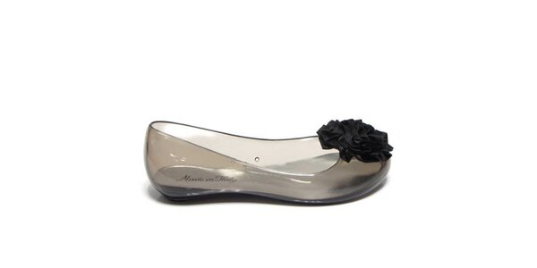 Dámske dymové transparentné baleríny s čiernou kvetinou Favolla