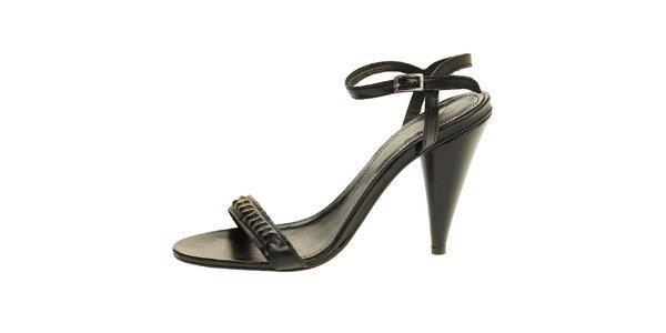 Dámske čierne kožené sandálky Levis
