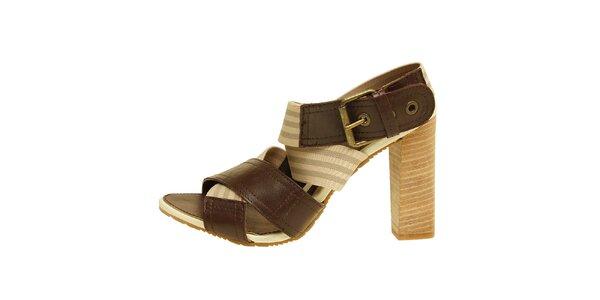 Dámske hnedo-béžové sandálky na vysokom opätku Levis