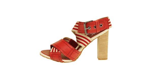 Dámske červeno-béžové sandálky na vysokom podpätku Levis