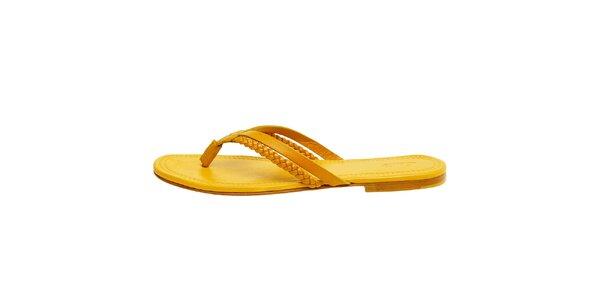 Dámske kanárkovo žlté kožené žabky Levis