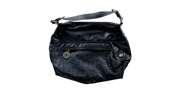 Dámska čierna kabelka Levis s vtlačenými krúžkami