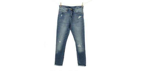 Dámske modré džínsy Tommy Hilfiger s ozdobným opaskom