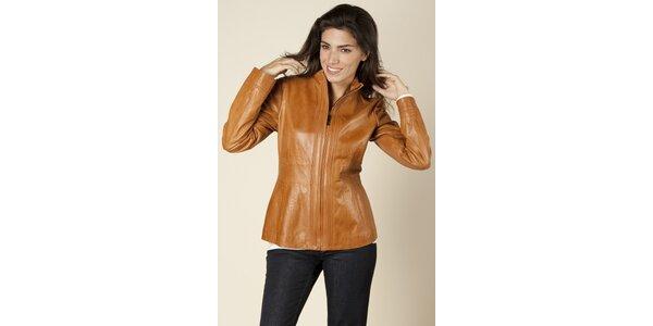 Dámska svetlo hnedá kožená bunda Trussardi