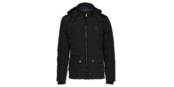 Pánska čierna bunda s kapucňou Paul Stragas