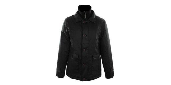 Pánska čierna bunda s plastovými gombíkmi Fuga