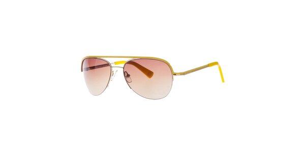 Dámske zlaté slnečné okuliare so žltými prvkami Michael Kors